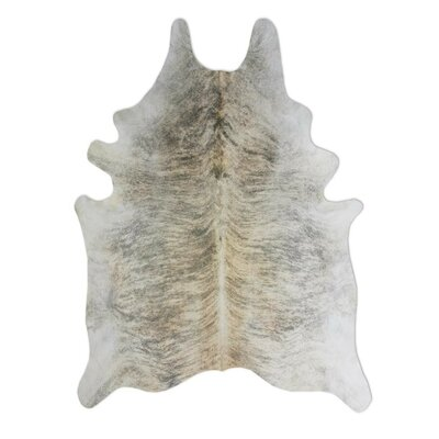Natural Cowhide Exotic Zebu Grey Area Rug Rug Size: 6 x 7