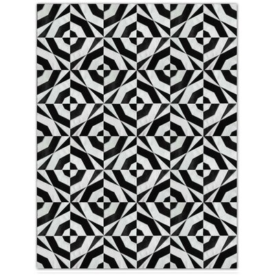 Patchwork Cowhide No. 1 Black/Gray Area Rug Rug Size: Round 8