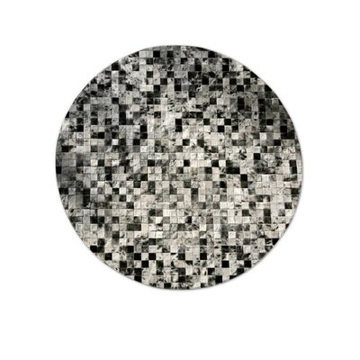 Patchwork Cowhide Moderna Grey Freckles Area Rug Rug Size: Rectangle 6 x 8