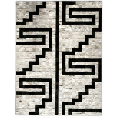 Patchwork Cowhide Pampa Noche Hand Woven Black/Ivory Indoor Area Rug Rug Size: Rectangle 4 x 6