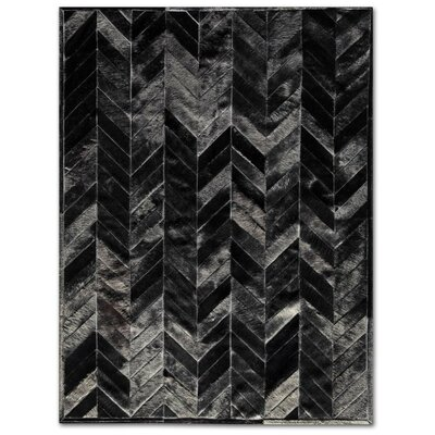 Patchwork Cowhide Yves Black Area Rug Rug Size: Rectangle 5 x 7