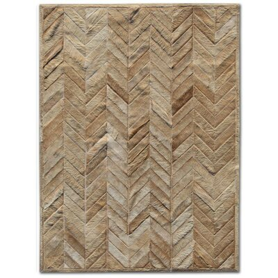 Patchwork Cowhide Yves Wheat Area Rug Rug Size: Rectangle 5 x 7