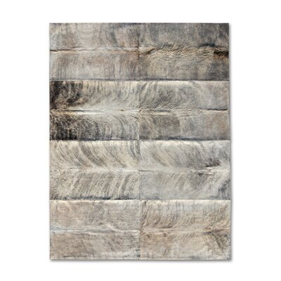 Patchwork Cowhide Oak Exotic Zebu Gray Area Rug Rug Size: 9' x 12'
