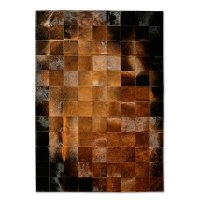 Patchwork Cowhide Park Normand Brown/Black Area Rug Rug Size: Round 8'