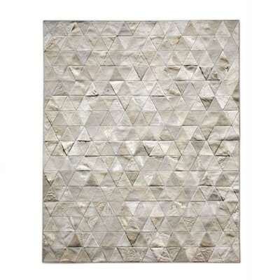 Patchwork Cowhide Kahn Ivory Area Rug Rug Size: Rectangle 9 x 12
