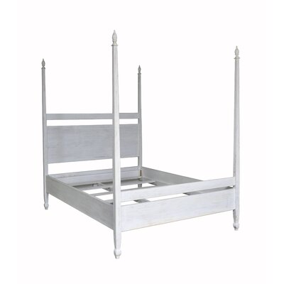 Venice Four Poster Bed Size: California King, Color: White