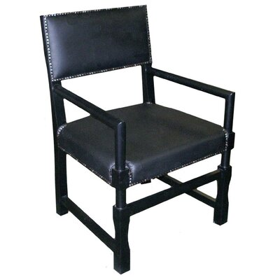Leather Square Genuine Leather Upholstered Dining Chair Finish: Black