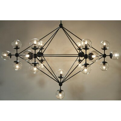 Pluto 21-Light Sputnik Chandelier Finish: Black