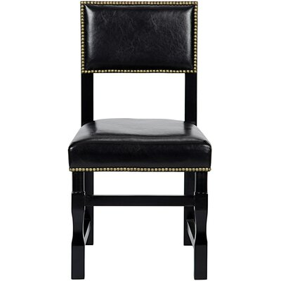 Abandon Genuine Leather Upholstered Dining Chair Finish: Distressed Black