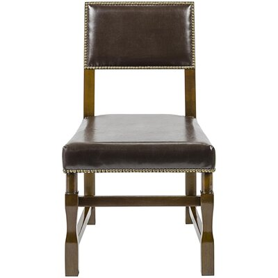 Leather Genuine Leather Upholstered Dining Chair Finish: Distressed Brown