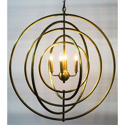 4-Light Globe Pendant Finish: Antique Brass