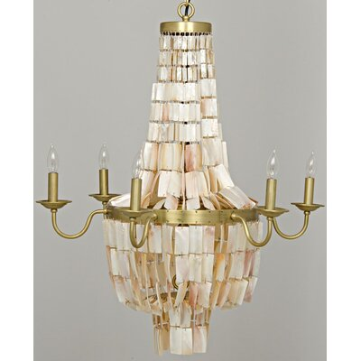 Bijou Shell Metal 6-Light Candle-Style Chandelier