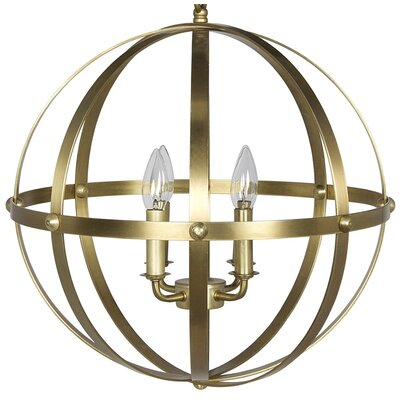 Metal 4-Light Globe Pendant