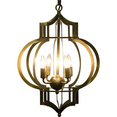 4-Light Foyer Pendant Finish: Antique Brass