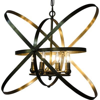 6-Light Geometric Pendant Finish: Antique Brass