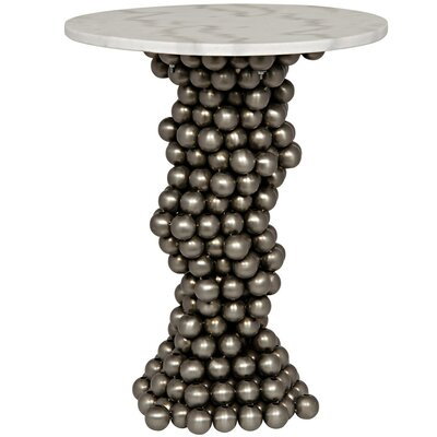 Bolla Metal End Table with Stone Top