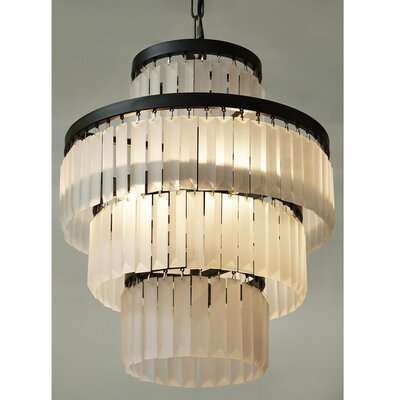 Cora Raw Glass 3-Light Crystal Chandelier