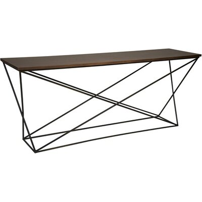 Metal X Base Console Table with Walnut Top