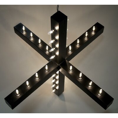 Geometric Pendant Finish: Dark Metal, Size: 34.5 H x 52.5 W x 52.5 D