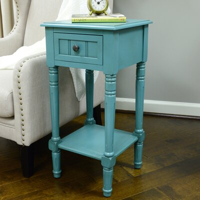 Adaline End Table With Storage Color: Teal