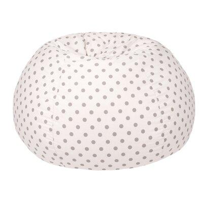 Polka Dot Small Bean Bag Chair Upholstery: White/Gray