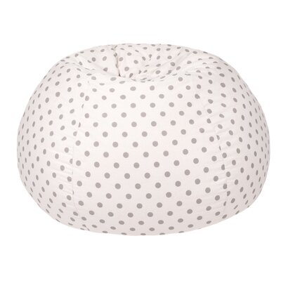 Polka Dot Extra Large Bean Bag Chair Upholstery: White/Gray