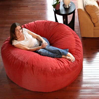 Comfort Cloud Bean Bag Chair Upholstery: Red, Size: 4