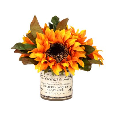 Sunflower Bouquet French Label in Decoupage Pot