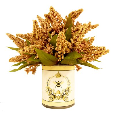 Gold Astilbe French Bee Decoupage Pot