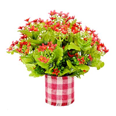 Spring Additions Gypso Flowers In Gingham Plaid Glass Vase
