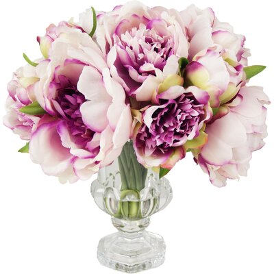 Peony Cluster in Acrylic Vase