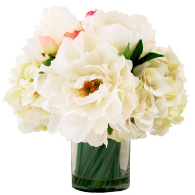 White Peonies in Water Vase