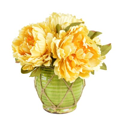 Faux Peonies Floral Arrangements in Decorative Vase