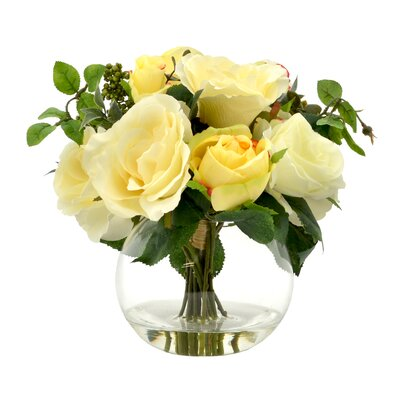 Cream and Yellow Rose Cluster with Green Berries in Bubble Vase with Acrylic Water