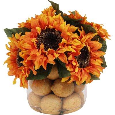Sunflowers in Lemon Glass Vase WA43