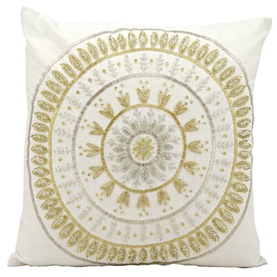 Beaded Sun Cotton Throw Pillow