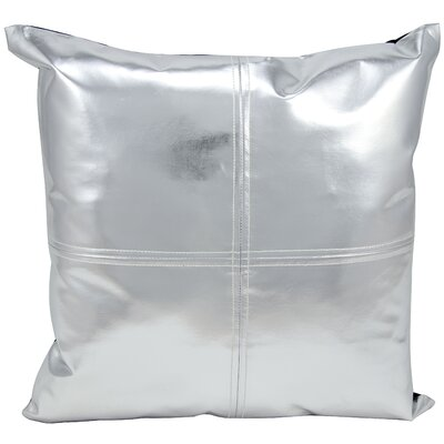 Metallic Faux Leather Throw Pillow Color: Silver