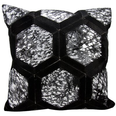Natural Leather Hide Throw Pillow Color: Black Silver
