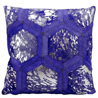 Natural Leather Hide Throw Pillow Color: Purple Silver