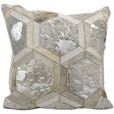 Priyanka Leather Throw Pillow Color: Gray/Silver