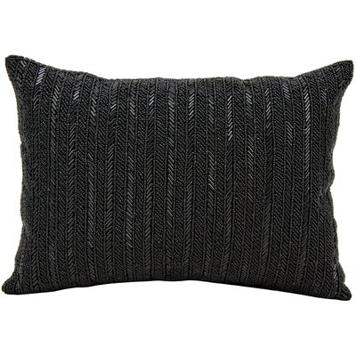 Beaded Stripes Lumbar Pillow Color: Black