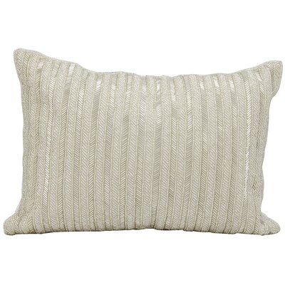 Beaded Stripes Lumbar Pillow Color: Silver