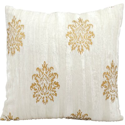 Gold Damask Velvet Throw Pillow