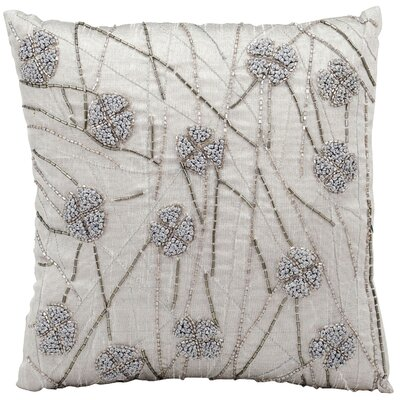 French Knot Flowers Poly Silk Throw Pillow