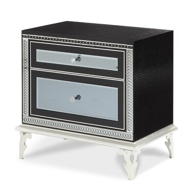 Hollywood Swank Starry Night 2 Drawer Nightstand