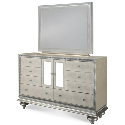 Hollywood Swank 9 Drawer Dresser with Mirror