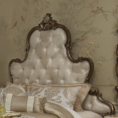 Platine De Royale Upholstered Panel Headboard Size: King, Color: Champagne