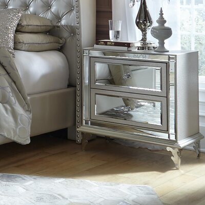 Hollywood Loft 2 Drawer Nightstand Color: Frost