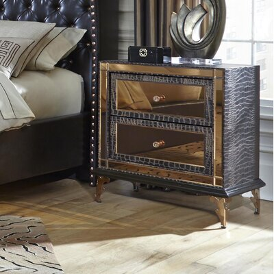 Hollywood Loft 2 Drawer Nightstand Finish: Ganache