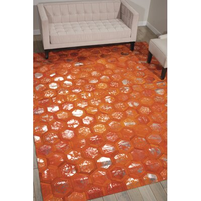 City Chic Hand-Woven Orange Area Rug Rug Size: 53 x 75